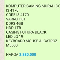 KOMPUTER GAMING MURAH CORE I3 4170 CORE I3 4170 VARRO H81 DDR3 4GB HDD