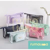 RUMAUMA Set 3IN1 Pouch Organizer Travel Tas Mini Kosmetik Alat Tulis