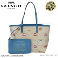 Coach Tote Bag Reversbile City In Signature Canvas With Pacman Print