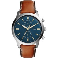 Jam Tangan Pria Fossil FS5279 Townsman Chronograph Blue Dial Leather