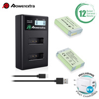 Powerextra Baterai Canon NB-13L 2Pack With Dual Charger + Fast Adaptor