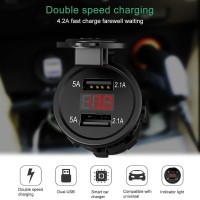 Fast Charger Lighter Mobil Motor 4.2A Voltmeter Waterproof + Kabel Set