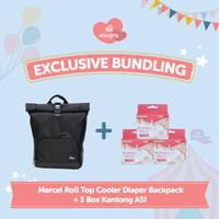 Bundling Marcel Cooler Diaper Backpack & 3 box Kantong ASI
