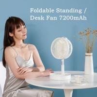 Kipas angin foldable stand / Portable 7200mah Cooling Fan 3 in 1 - Putih