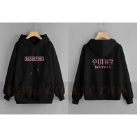 sweater hoodie anak black pink whistle - rifki collection