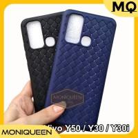 Case Vivo Y50 Y30 Y30i WOVEN Leather texture Ultra Slim Soft Case