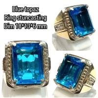 cincin natural batu akik permata blue topaz 18136