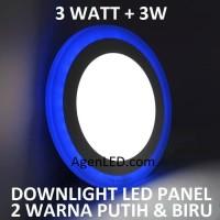 Lampu Downlight LED Panel 3W 3 W Watt INBOW PUTIH BIRU BULAT 2 WARNA