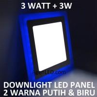 Lampu Downlight LED Panel 3W 3 W Watt INBOW PUTIH BIRU KOTAK 2 WARNA