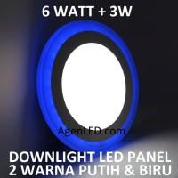 Lampu Downlight LED Panel 6W 6 W Watt INBOW PUTIH BIRU BULAT 2 WARNA