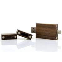 Souvenir Promosi Logo Perusahaan USB Flashdisk OTG Kayu Wood