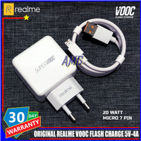 Charger Realme VOOC Flash Charge 5V-4A ORIGINAL 100% Micro 7 Pin 20W
