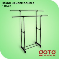 Stand Hanger Maden Double Rak Serbaguna dengan 4 Roda