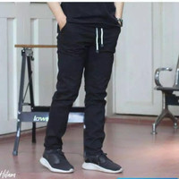 Celana Chino Panjang Pria Rip pinggang karet polos bahan katun cream
