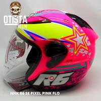 Helm Half Face Nhk R6 Pixel se Pink Flo Pink Corak Motif gloss M - XXL - L, Kaca Clear