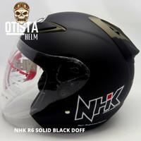 Helm Half Face Nhk R6 Solid Black Matte Hitam Doff Dof Polos L - XXL - L, Kaca Clear