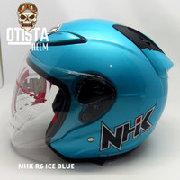 Helm Half Face Nhk R6 Solid Ice Blue Biru Glossy Polos Metalic M - XXL - L, Kaca Clear