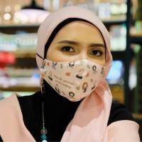 Jersey Mask Pink - Masker Kain Motif 2 Lapis - Hijab & Non-hijab - Headloop
