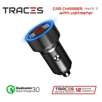 TRACES Car Charger - Charger Mobil QC 3.0 with Voltmeter (Mark II) - Silver