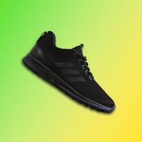 Sepatu Sport Adidas Cloudfoam Full Black Hitam Sekolah Casual Olahraga
