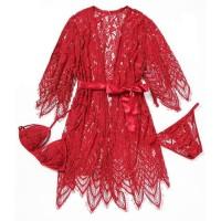 Palinglaliris Sexy Lingerie Kimono + Bra Set G-String Baju Tidur