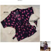 Pakethemat Dark Of Keiko Sexy Kimono Robe Lingerie -Sabuk + Gstring -