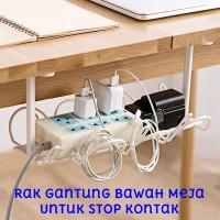 Rak Bawah Meja Untuk Stop Kontak Colokan Kabel Cable Holder Organizer