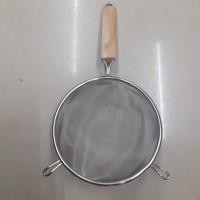 Saringan Cekung Serbaguna Stainless gagang Kayu 18 cm 18cm