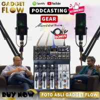 PAKET PODCAST Mic Microphone SODIAL C911 Mixer Microverb 4 Channel