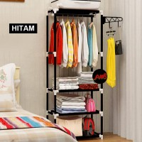Square steady stand hanger rak buku rak lemari pakaian tanpa cover