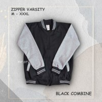Jaket Pria Baseball Varsity Sweater Polos BLACK-GREY M- XL Best Seller