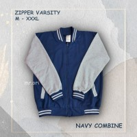 Jaket Pria Baseball Varsity Sweater Polos NAVY-GREY M- XL Best Seller