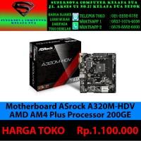 Motherboard ASrock A320M-HDV AMD AM4 PLUS PROSESOR 200GE