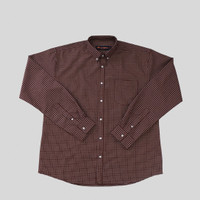 COTTONGO Kemeja Oxford Button Down Lengan Panjang - Urban Plaid Maroon - L
