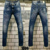 Celana Panjang Jeans GUESS PREMIUM blue navy ripped washed Skinny Fit