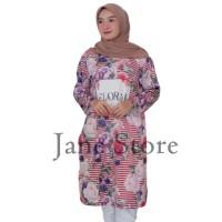Tunik Moana Floral Stripe by Kultura Moda JR54 baju tunik Muslim murah