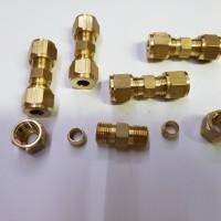 conector Union 1/4 Plus nut dan cincin kuningan