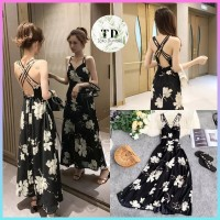 BAJU DRESS WANITA MAXI DRESS CAMMOMILE FLOWER LONG DRESS KOREA IMPORT