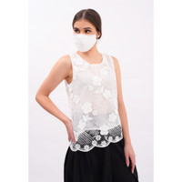 CHIC SIMPLE SEQUINED EMB MESH SLEEVELESS TOP