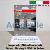 Osram LED riving SL WY21W Amber Jingga 7704YE Italy Lampu Sein Mobil