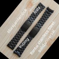 Rantai/Tali/Strap Jam Tangan Ukuran 24mm Warna Hitam,Solid ,Universal.