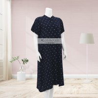 Lunaci Dark Navy Polkadot Home Dress