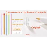 Apple pencil 1 &2 case cover silicone + Original Apple pencil tip - Apple Pencil 1, Hijau