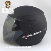 Helm Half Face Gm Evo Solid Black Doff Hitam Matte Dof Polos Dop - L