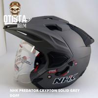 Helm Half Face Nhk Predator Crypton Solid Grey Doff Abu Abu Dof Matte - XXL