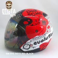 Helm Half Face Gm Evo Note Red Black Merah Corak Motif Gloss Glossy - L