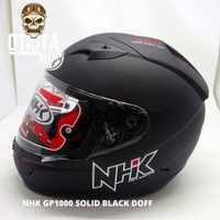 Helm Half Face Nhk Gp1000 Solid Black Doff Hitam Polos Matte XL - L, Kaca Clear
