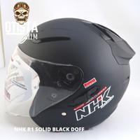 Helm Half Face Nhk R1 Solid Black Doff Matte Hitam Polos Matt M - XXL - XXXL