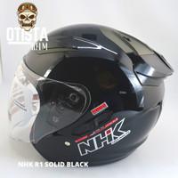 Helm Half Face Nhk R1 Solid Black Hitam Polos Glossy Metalic M - XXL - XXXL