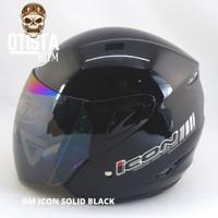 Helm Half Face Gm Icon Solid Black Hitam Gloss Glossy Polos Metalic - L